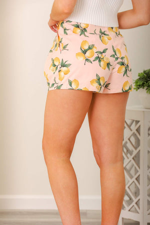 Bright Citrus Lemon Printed Shorts