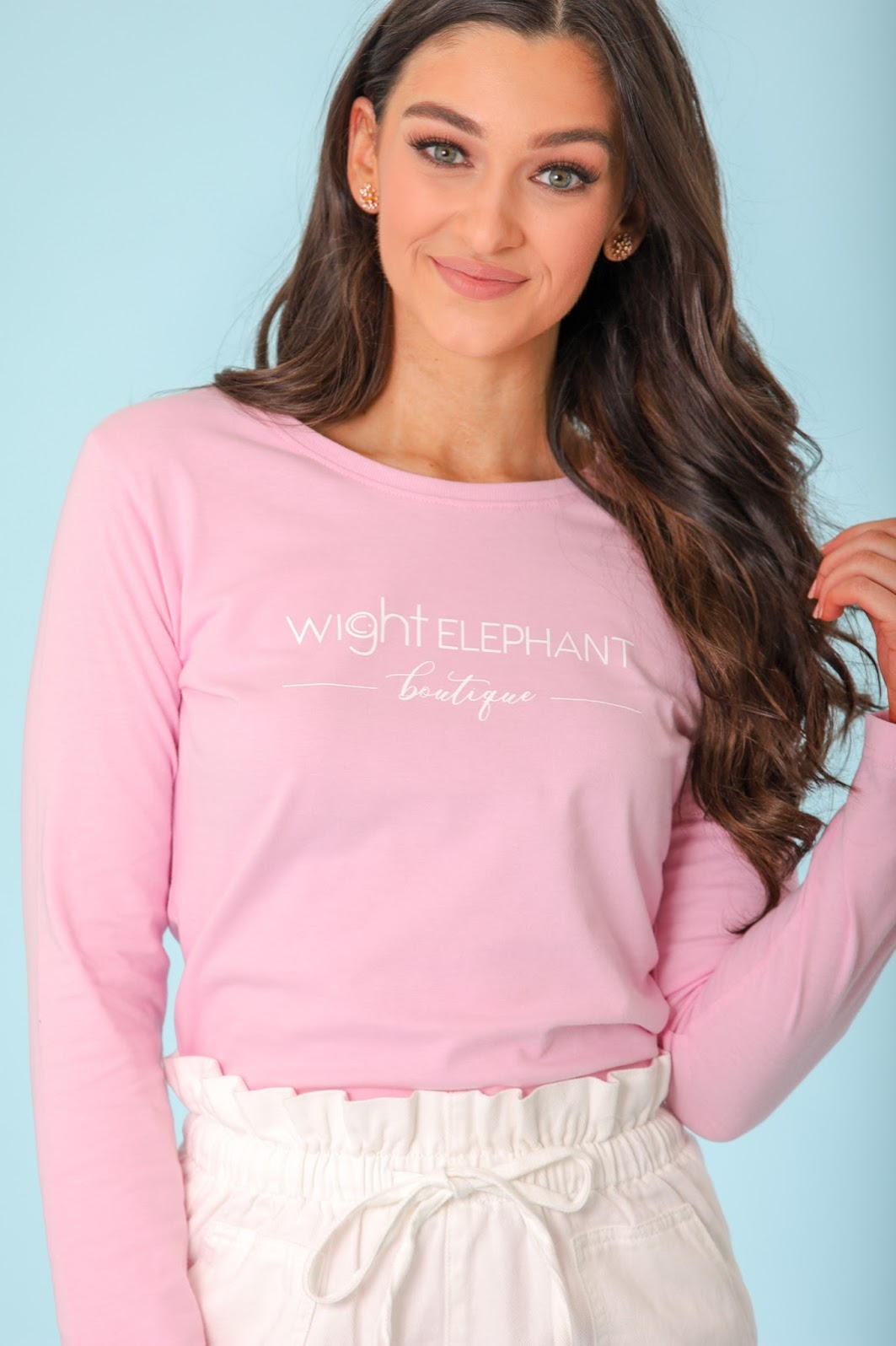 Long Sleeve Wight Elephant Tee - Pink