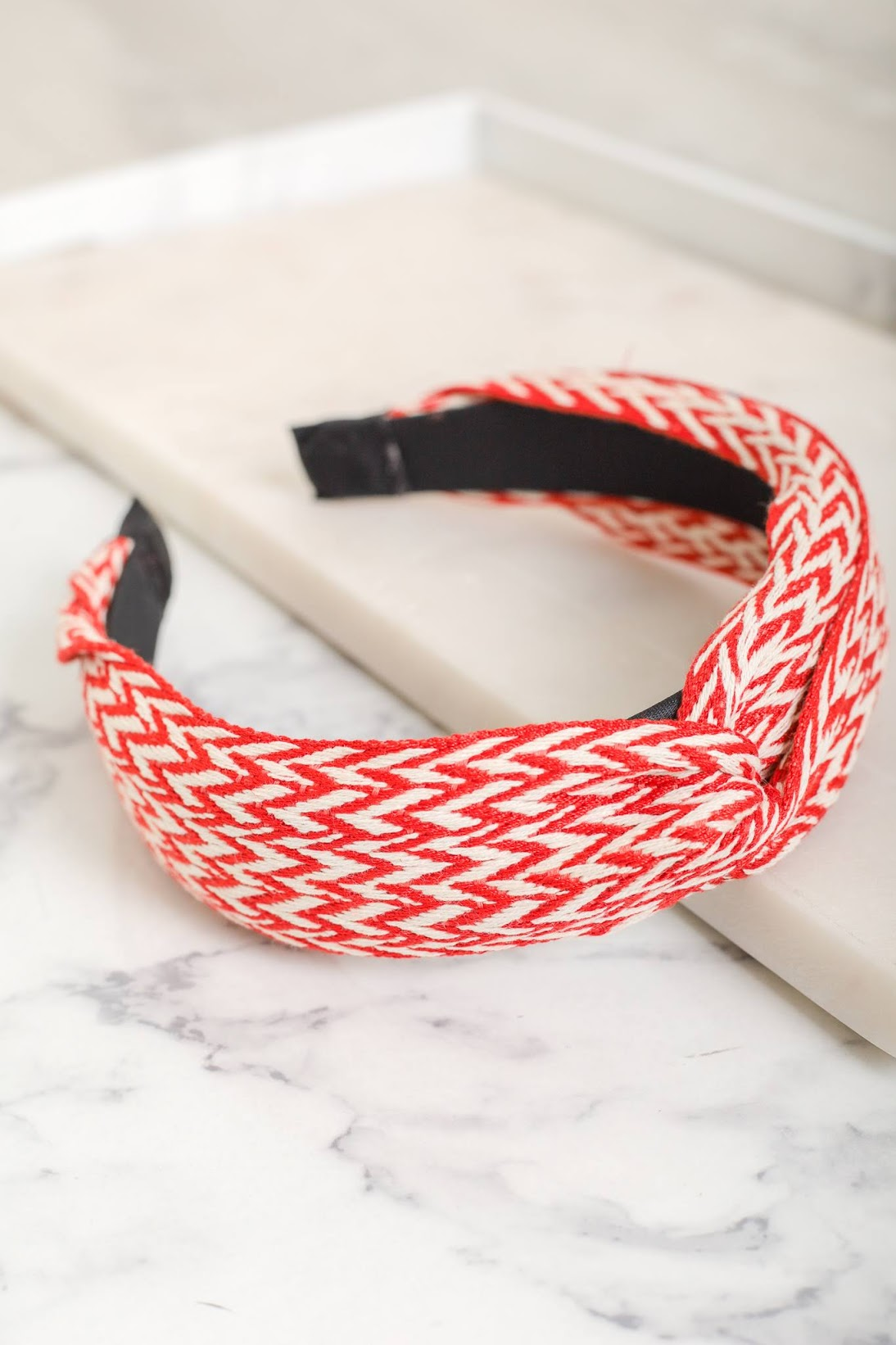 Lenora Woven Chevron Headband - Red