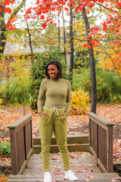 By The Fire Side High Rise Joggers - Olive