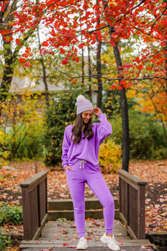 By The Fire Side High Rise Joggers - Purple