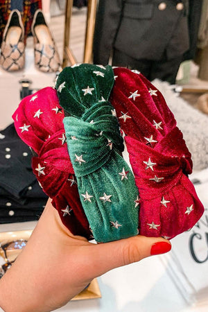 Star Studded Top Knot Headbands - Green - Hair Accessories - Wight Elephant Boutique