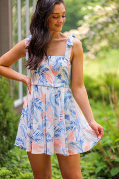Living On Island Time - Peach & Blue Palm Printed Dress with Shoulder Ties