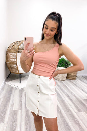 Island Air One Shoulder Crop Top - Pink