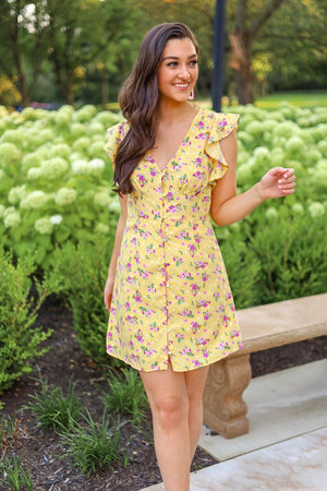 Crown of Flowers Ruffled Mini Dress - Dresses - Wight Elephant Boutique