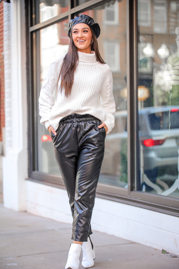 String Them Along Faux Leather Paperbag Waist Pants - Black
