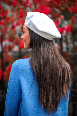 Faux Leather Beret - White