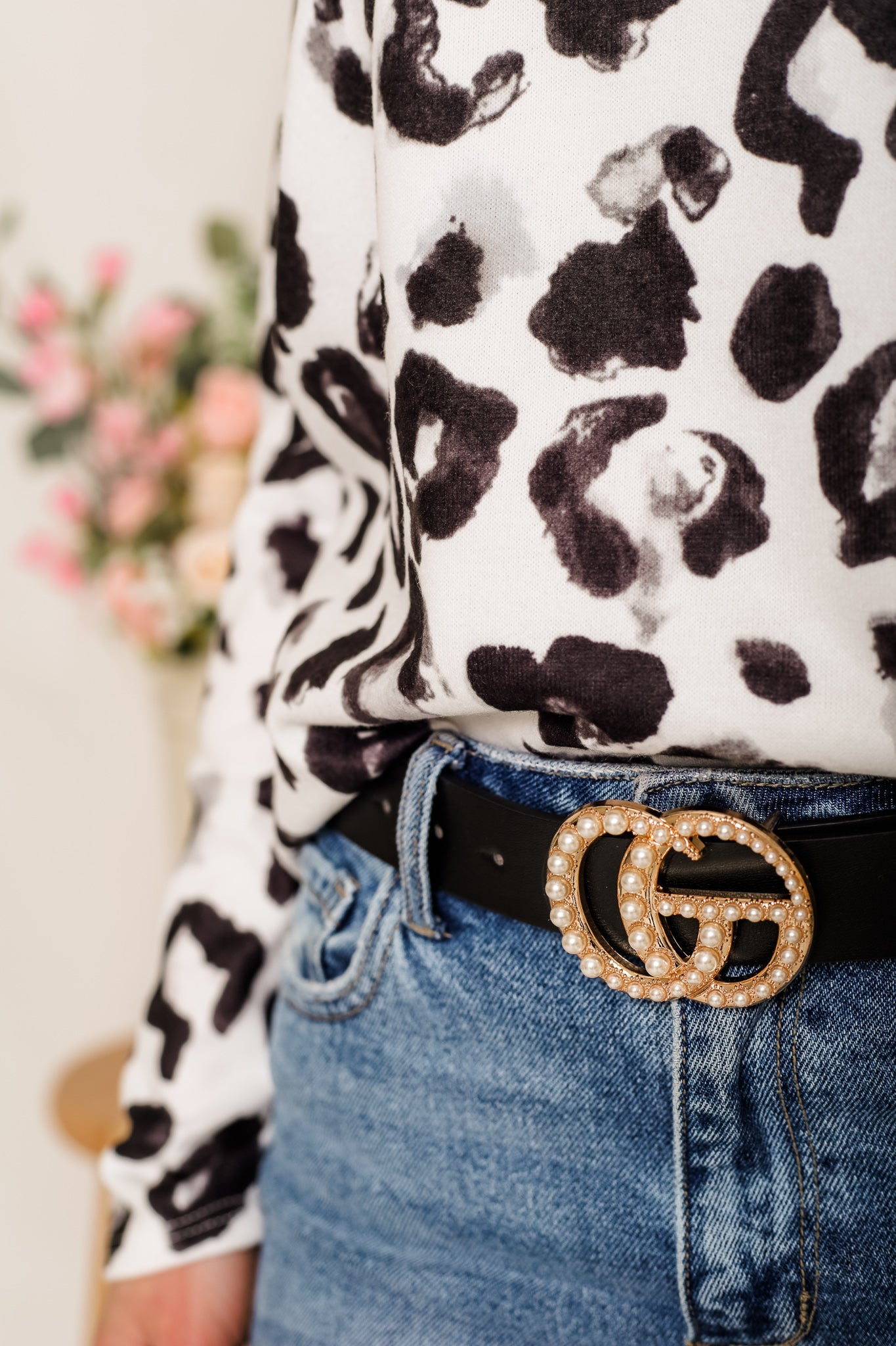 Gee We Love This Belt - Black and Pearls