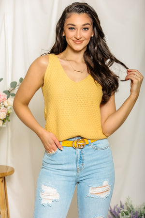 Sweet Spring Buttercup Sleeveless Sweater