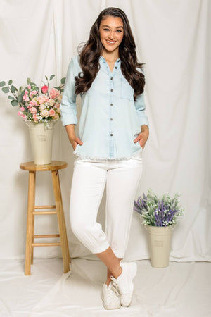 Button Up Babe - Chambray Top