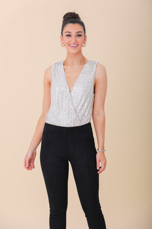 Star Power Sleeveless Sequin Bodysuit - Tops - Wight Elephant Boutique