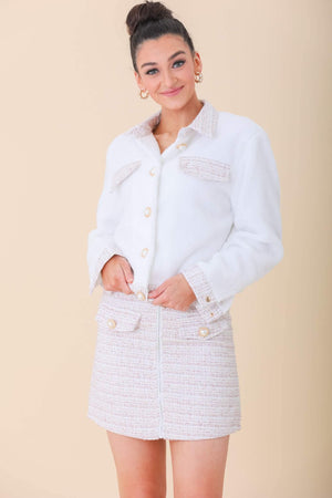 Adeline Tweed Jacket and Skirt Set - Two-Piece Sets - Wight Elephant Boutique