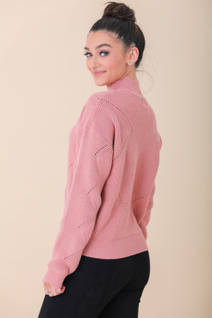 Rosy Cheecks Scallop Detail Sweater - Tops - Wight Elephant Boutique