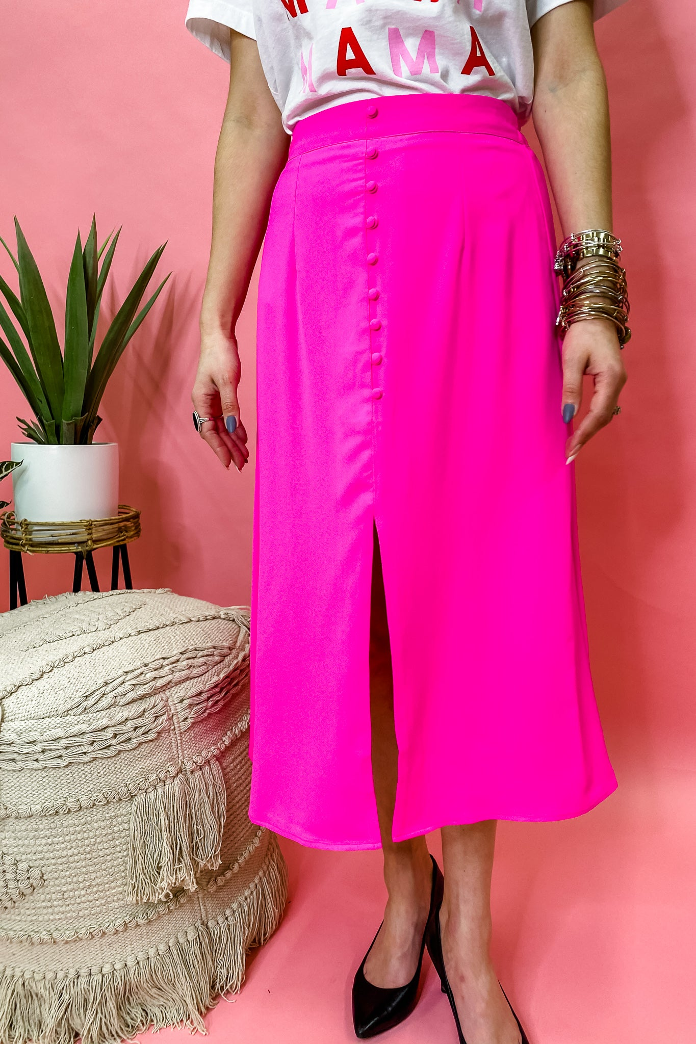Smokin' Hot Pink - Midi Skirt