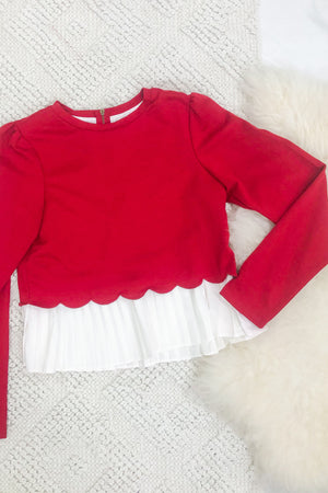 Sweet Cherry Scalloped Sweater