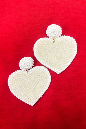 Pretty Little Ivory Heart Earrings