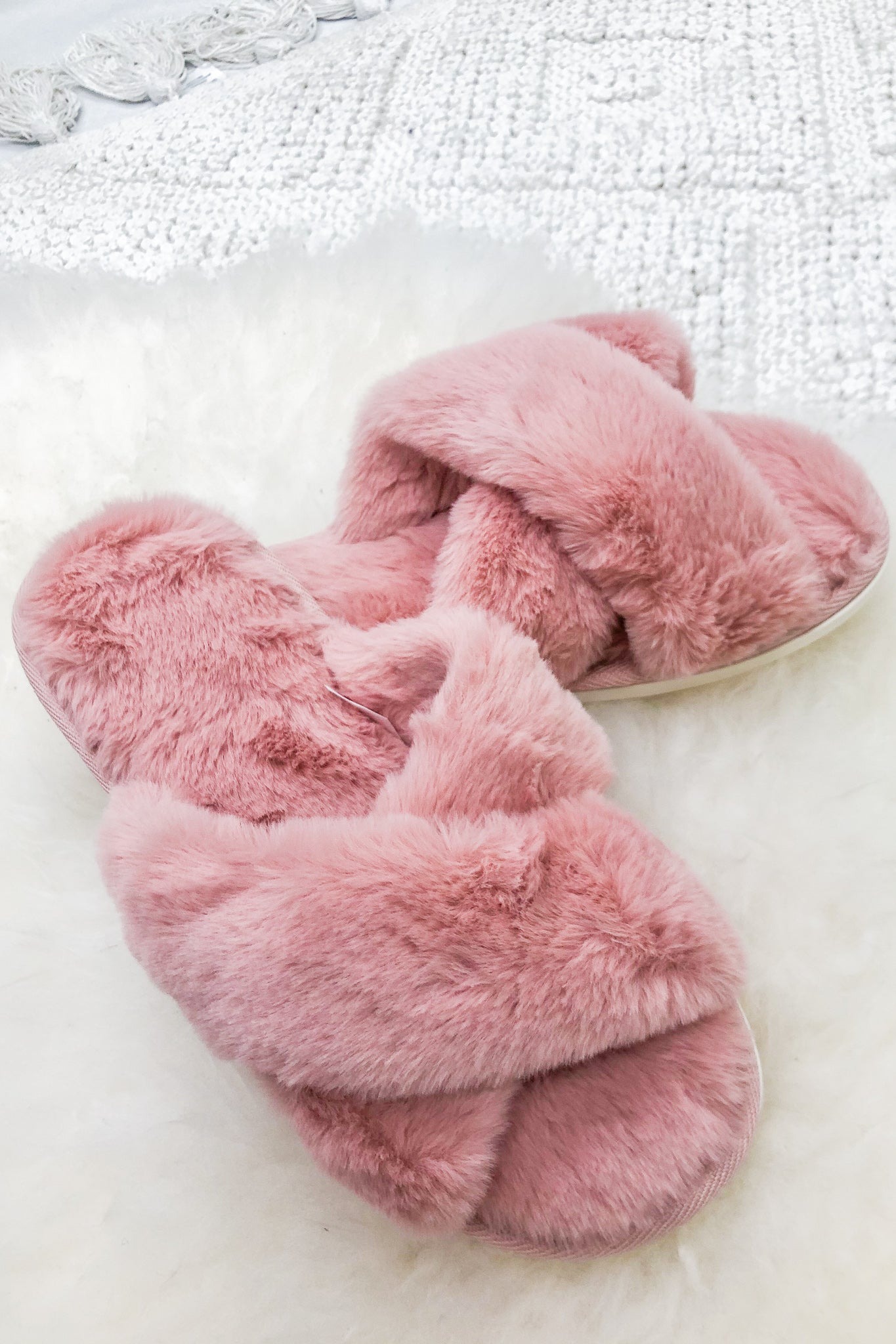 Warms My Heart Pink Faux Fur Slippers