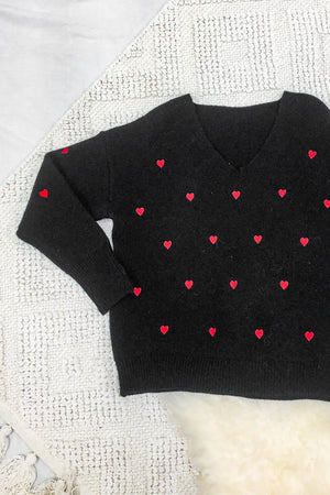 Hearts Are Beating Sweater - Black