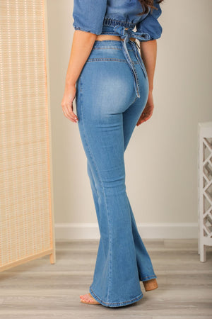 Walking the Walk High Waist Flare Jeans with Tie Back