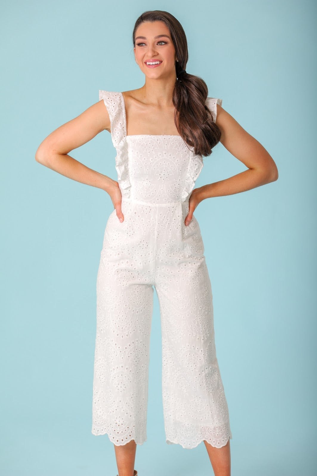 Time Goes By Eyelet Ruffle Jumpsuit - White - Jumpsuits - Wight Elephant Boutique