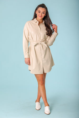 Elise Faux Leather Dress - Dresses - Wight Elephant Boutique