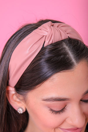Faux Leather Top Knot Headbands - Pink - Hair Accessories - Wight Elephant Boutique