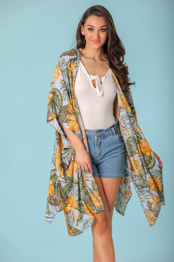 Floating Along Printed Kimono - Mustard Palm Leaf - Tops - Wight Elephant Boutique