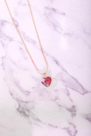 Carve a Piece in My Heart Shaped Natural Stone Pendant - Burgundy - Jewelry - Wight Elephant Boutique