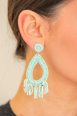 Drops of Rain Beaded Tear Earrings - Mint