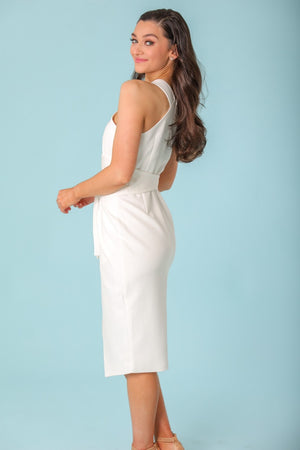 Vienna Belted Halterneck Midi Dress - Dresses - Wight Elephant Boutique