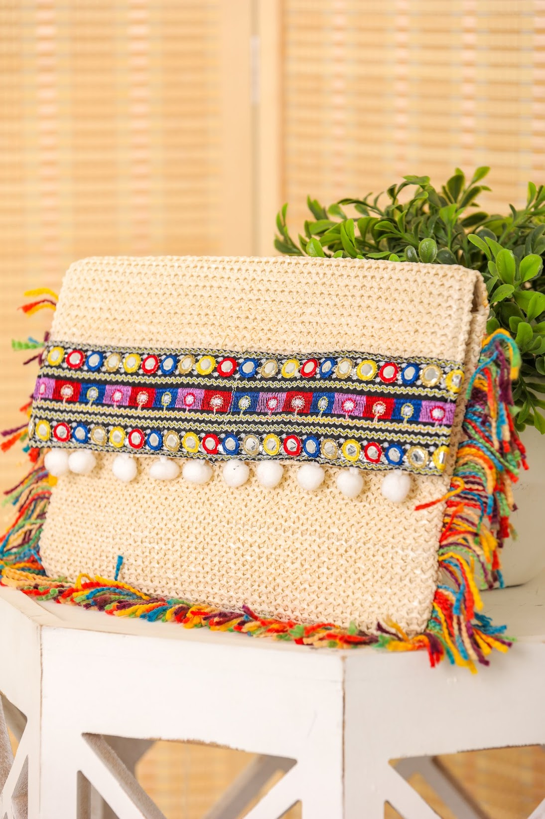 Pop of Color Thread Fringe Clutch - Ivory