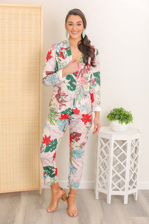 Vacation Living Tropical Floral Pant