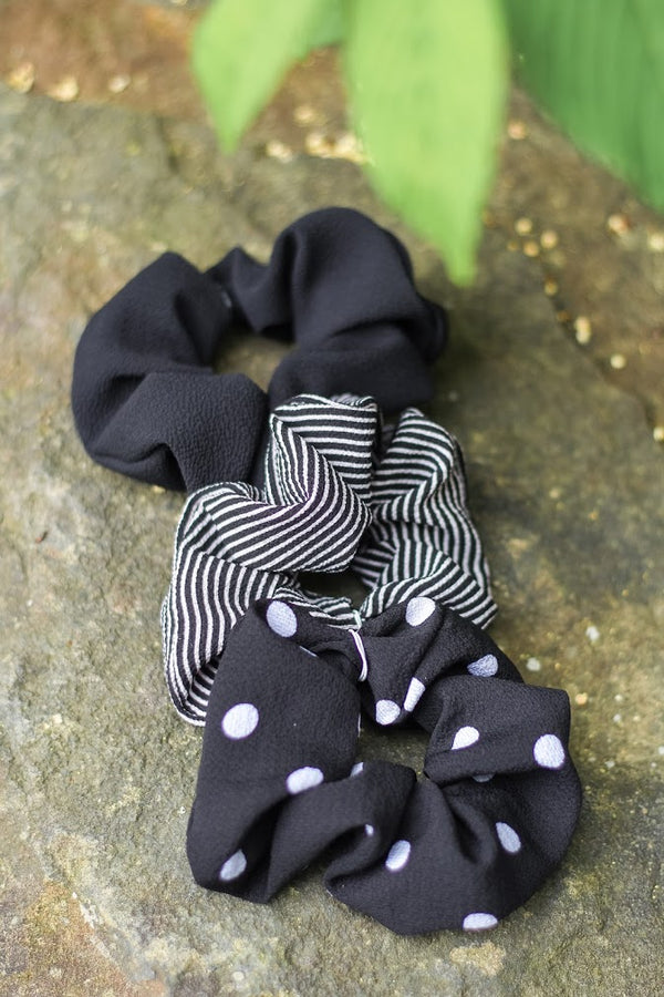Black Patterned Scrunchies - Hair Accessories - Wight Elephant Boutique
