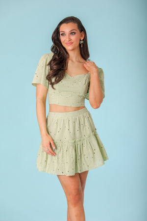 Beauty of Nature Eyelet Mini Skirt - Skirts - Wight Elephant Boutique
