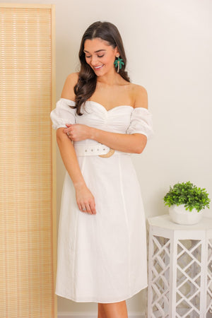 Morning Dove Off Shoulder Puff Sleeve Dress
