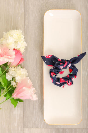 Fruit Salad Strawberry Scrunchies - Navy