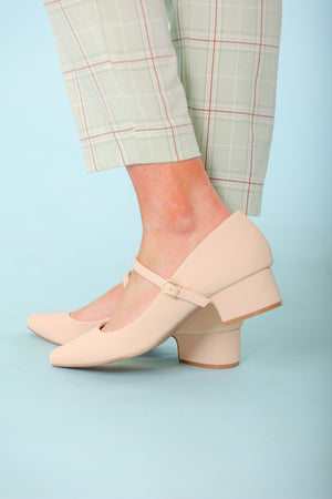 Heather Buckled Nude Heel