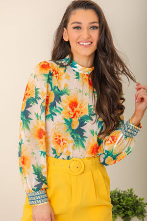 Flowers in the Sun Floral Print Top