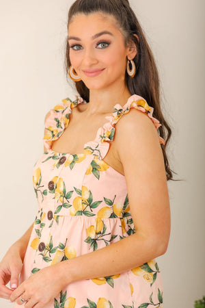 Bright Citrus Lemon Printed Ruffle Top
