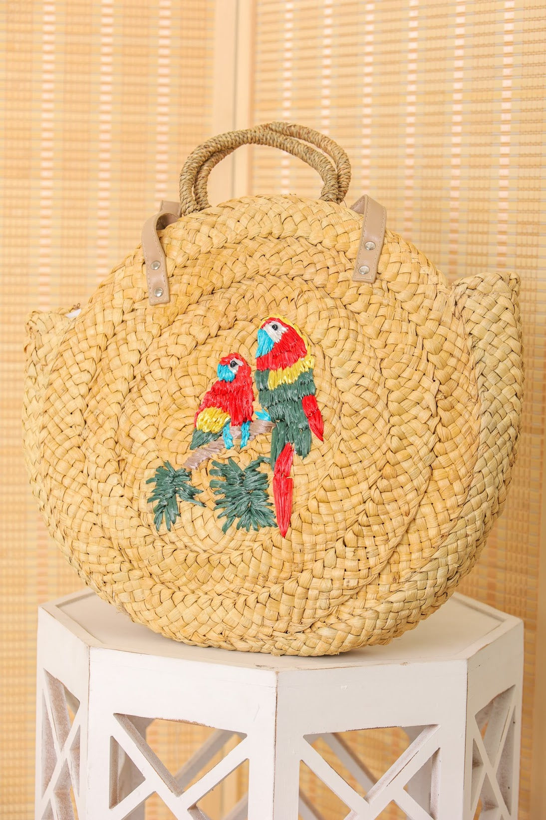Love Birds Parrot Woven Straw Bag