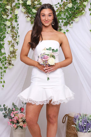 Ready to be a MRS. - Strapless Peplum Dress