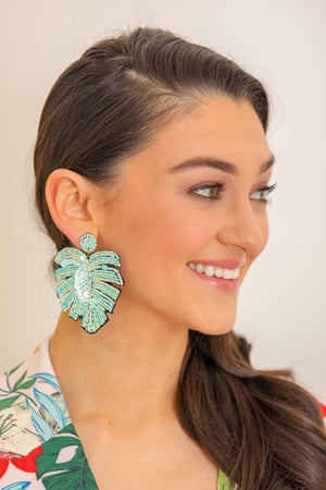 Palm Frond Beaded Leaf Earrings