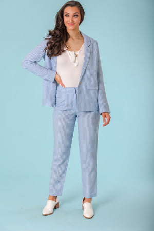 Juliet Blue Striped Trouser - Pants - Wight Elephant Boutique