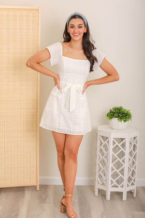 Clear Skies Eyelet Mini Dress