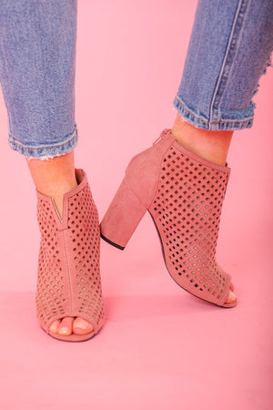 Chester Mauve Suede Peep Toe Bootie - Shoes - Wight Elephant Boutique