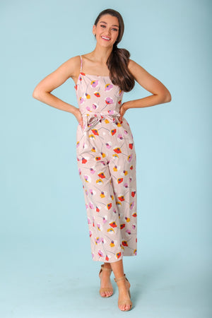 Garden of Tulips Square Neck Linen Jumpsuit - Jumpsuits - Wight Elephant Boutique