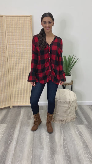 Visions of Autumn Bell Sleeve Buffalo Plaid Blouse - Red/Black