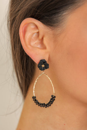 Carnation Beaded Teardrop Earrings