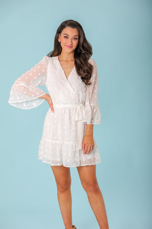 Not a Cloud in the Sky Pom Ruffle Wrap Mini Dress - Dresses - Wight Elephant Boutique