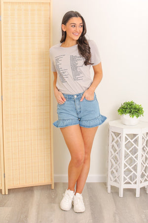 Whole New World Stone Wash Ruffle Short